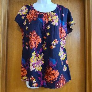 Boden Navy Floral Silk Blend Shirt 8 NWOT